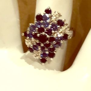 Vintage 925 blue and silver stone ring